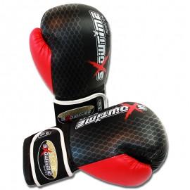 Boxhandschuhe aus DX in Schwarz/Rot mit Gitter