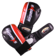 Boxhandschuhe aus Amara Leder, Lange Klettverschluss in Black/Red/White
