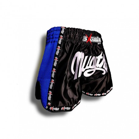 "K-1 Thaiboxing Short in Satin ""Phuket"" in Schwarz/Blau"