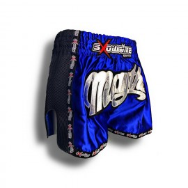 "K-1 Thaiboxing Short in Satin ""Phuket"" in Blau/Schwarz"