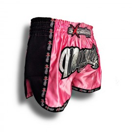 "K-1 Thaiboxing Short in Satin ""Phuket"" in Pink/Schwarz"