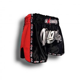 "K-1 Thaiboxing Short in Satin ""Mesh"" in Schwarz/Rot"