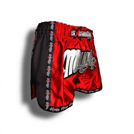 "K-1 Thaiboxing Short in Satin ""Mesh"" in Rot/Schwarz"