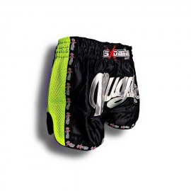 "K-1 Thaiboxing Short in Satin ""Mesh"" in Schwarz/Grün"