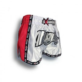 "K-1 Thaiboxing Short in Satin ""Mesh"" in Weiß/Rot"