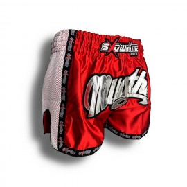 "K-1 Thaiboxing Short in Satin ""Mesh"" in Rot/Weiß"