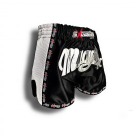 "K-1 Thaiboxing Short in Satin ""Mesh"" in Schwarz/Weiß"