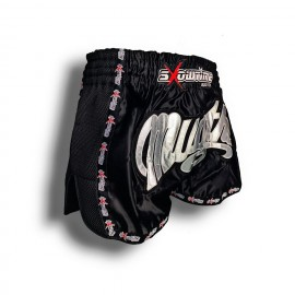 "K-1 Thaiboxing Short in Satin ""Mesh"" in Schwarz"