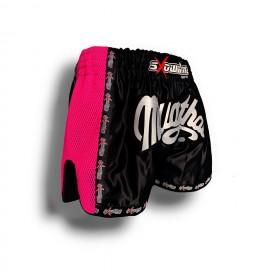 """K-1 Thaiboxing Short in Satin """"Mesh"""" Schwarz/Pink"""