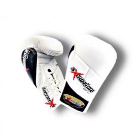 Boxhandschuhe aus echtem Leder, Lange Klettverschluss in Schwarz