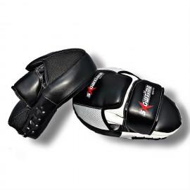 Handpratze mit Gel & Krümmung aus echtem Leder in Schwarz/Weiß