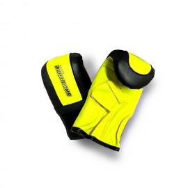 Sandsackhandschuhe aus Kunstleder mit Klett in Schwarz/Gelb