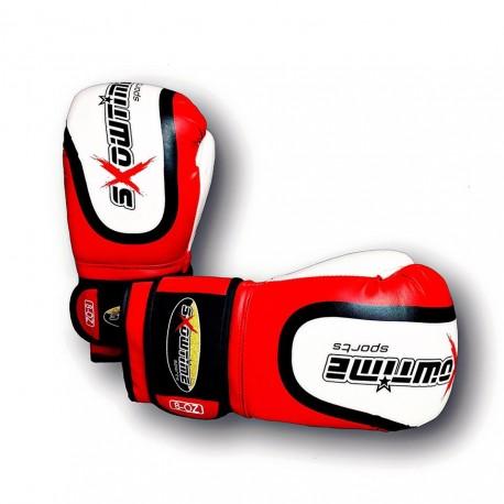 Boxhandschuhe aus echtem Leder MIX Color Rot/Weiß